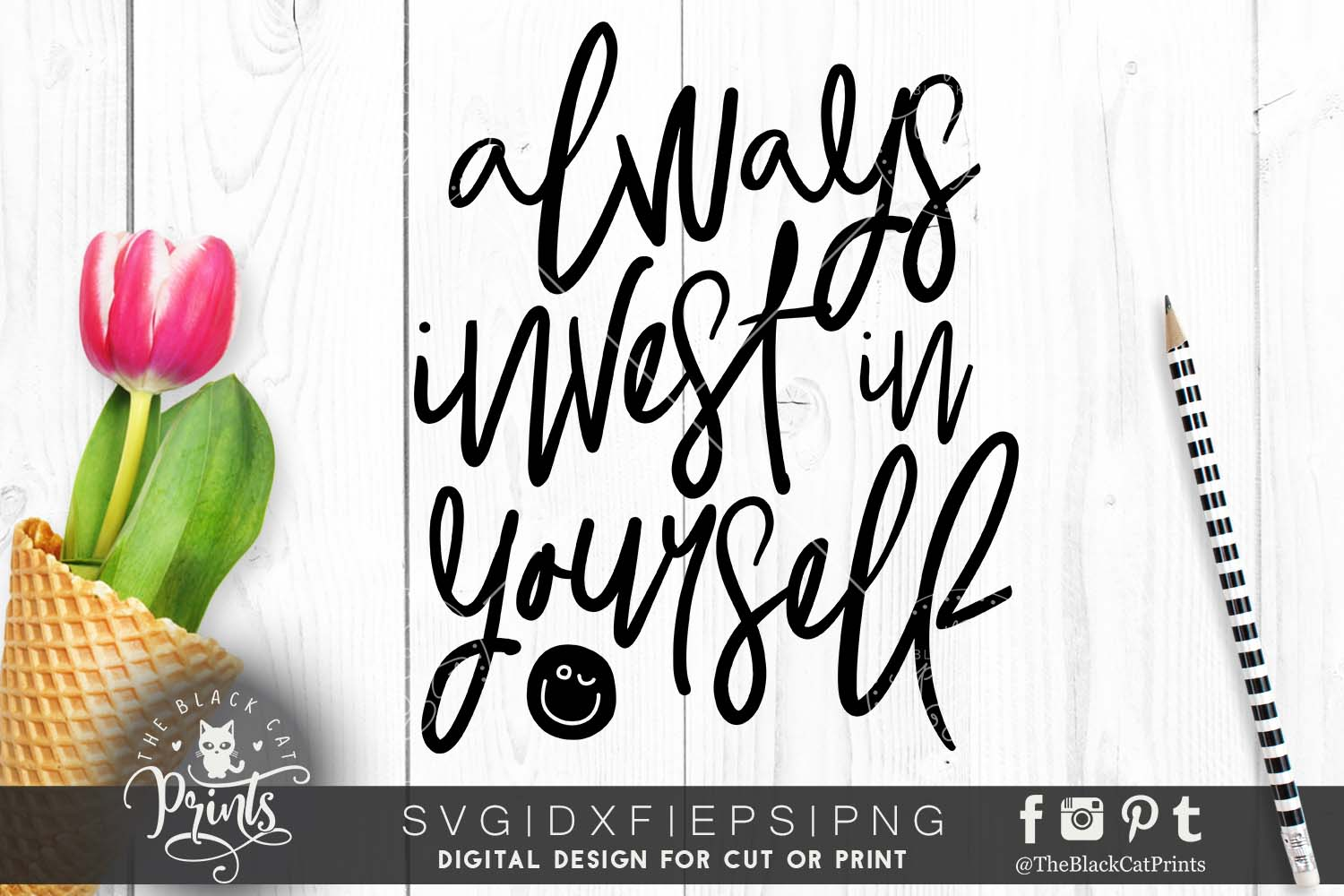 Always invest in yourself SVG DXF PNG EPS example image 6
