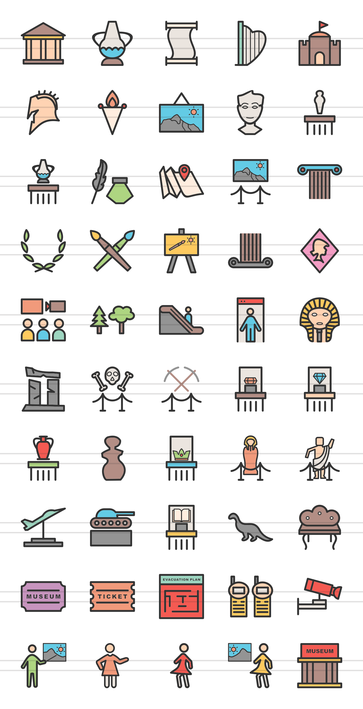 50 Museum Linear Multicolor Icons example image 2