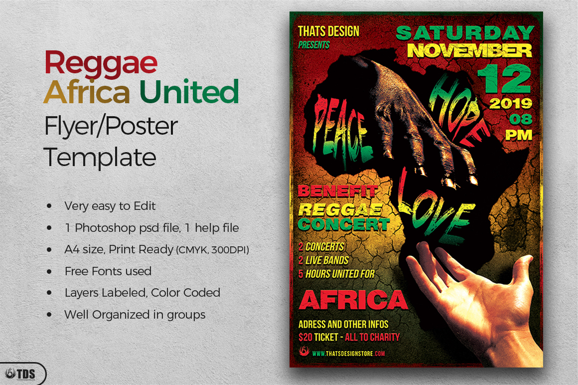 Reggae Africa United Flyer Template  example image 2