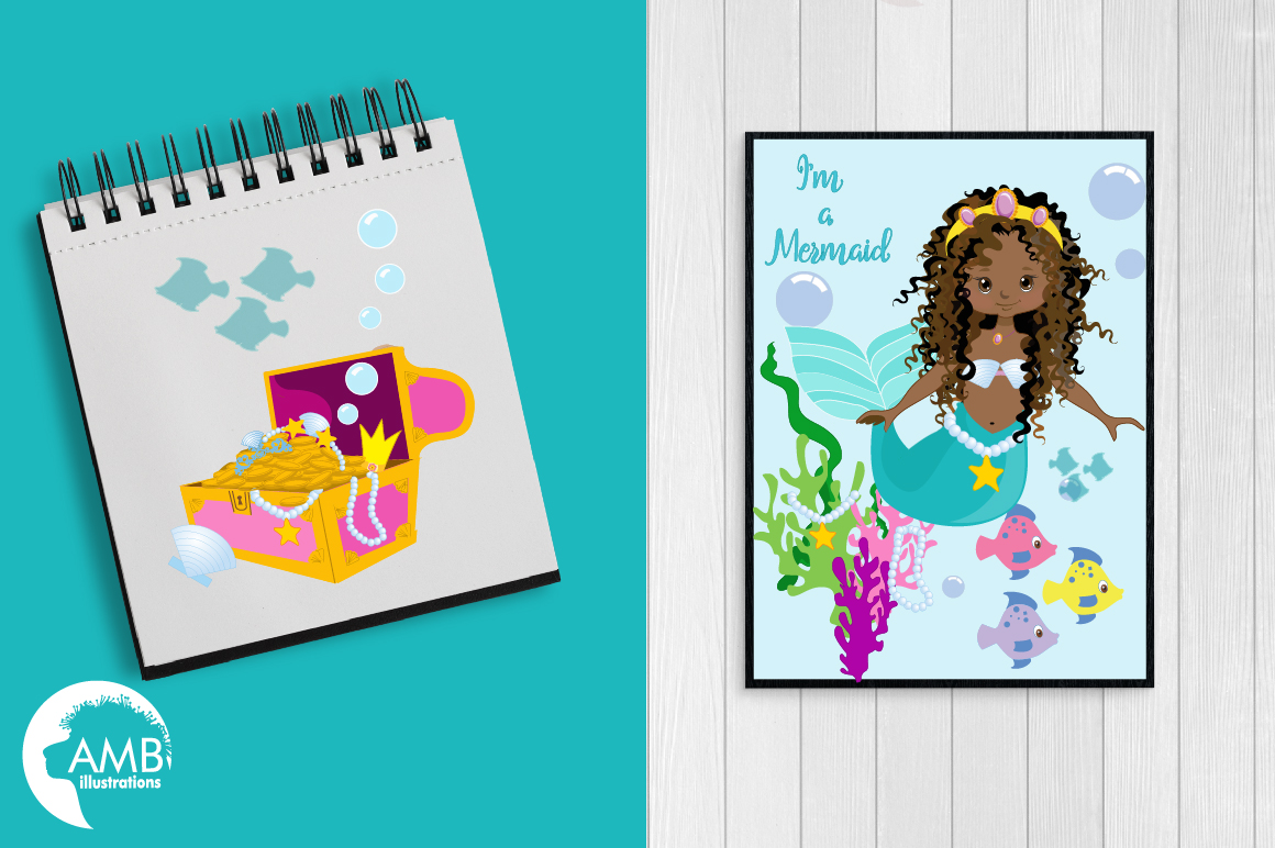 Mermaid Princess clipart, African AMerican Mermaids clipart, graphics, illustrations AMB-1363 example image 3