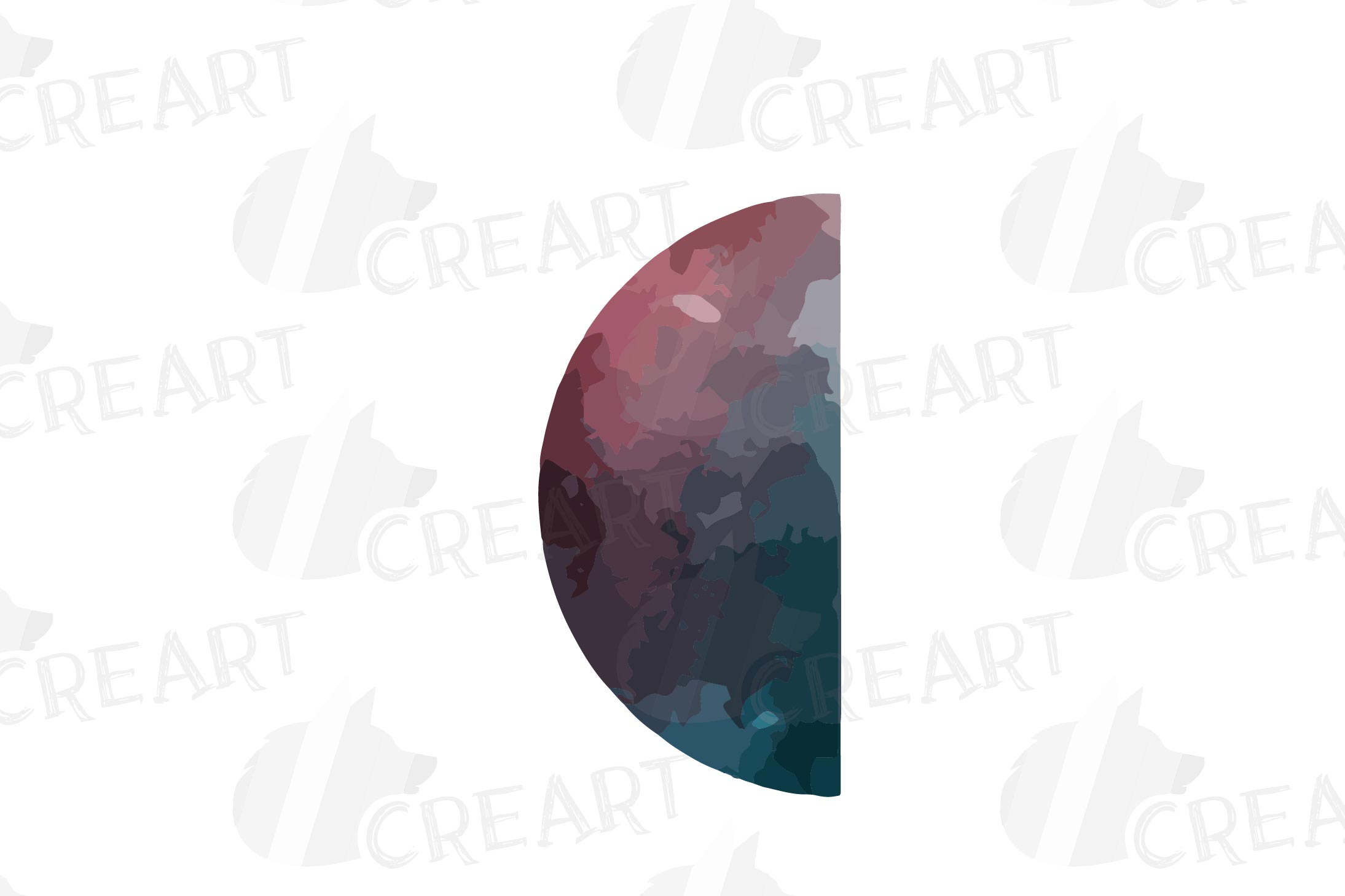 Watercolor space blue and grey Moon Phases clip art pack example image 8