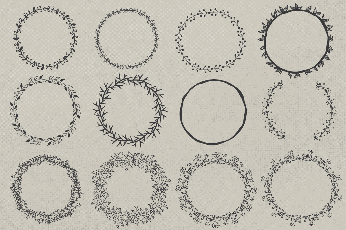 Hand drawn wreaths and frames example image 3