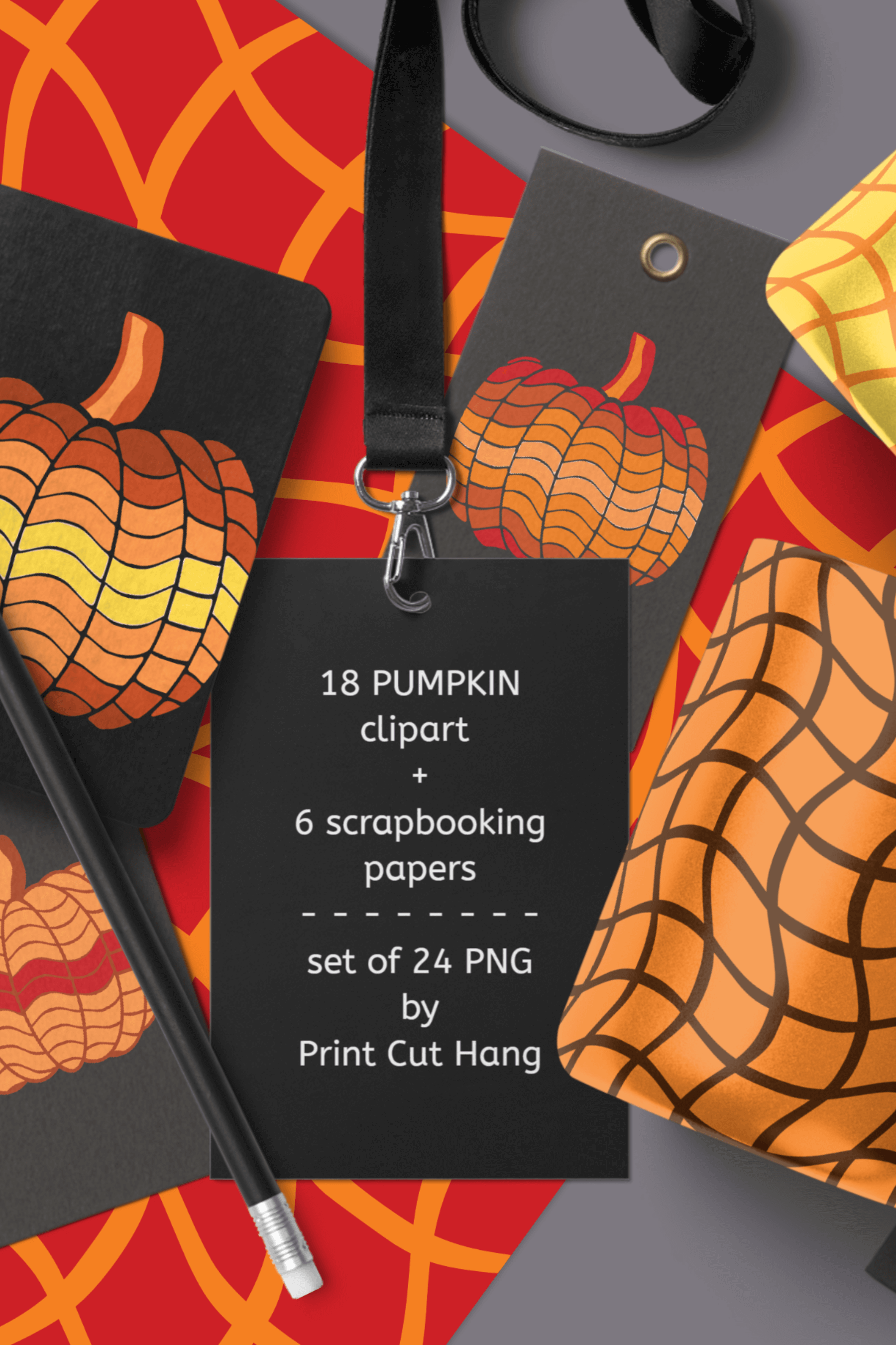 Pumpkins Clipart & Scrapbooking Papers Set of 24 PNG Files example image 5