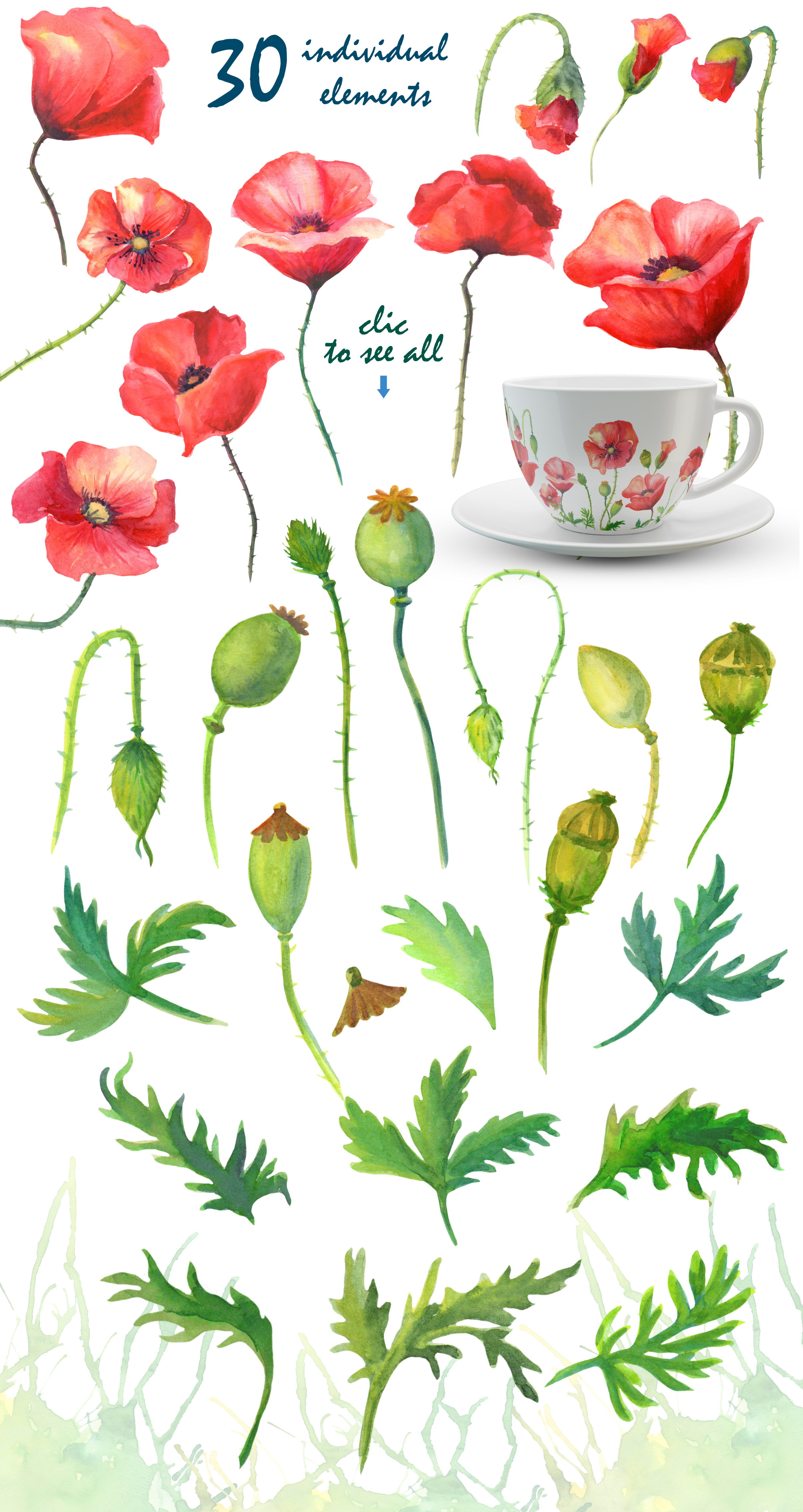 Watercolor poppies. example image 2