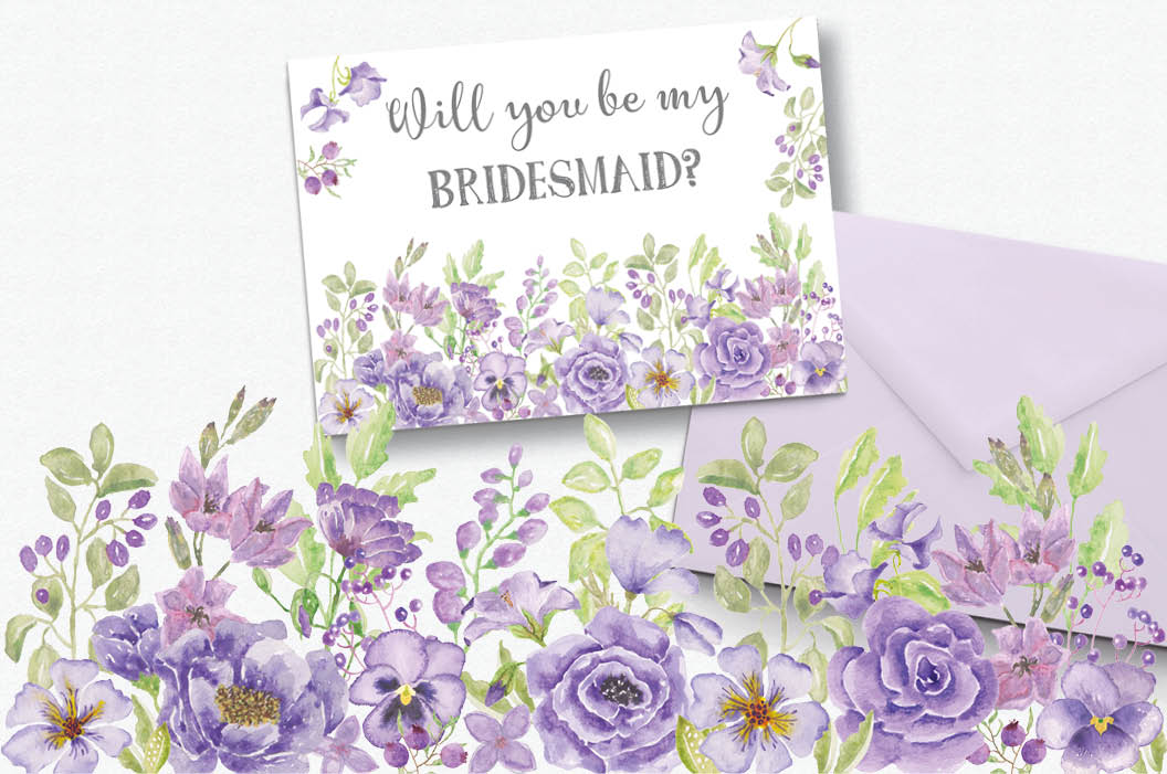 'Purple Passion II': watercolor border plus individual elements example image 3