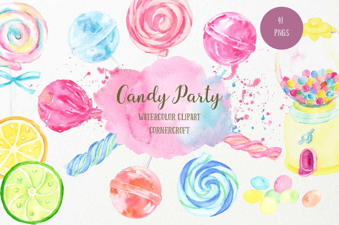 Watercolor Candy Party Clip Art  example image 2