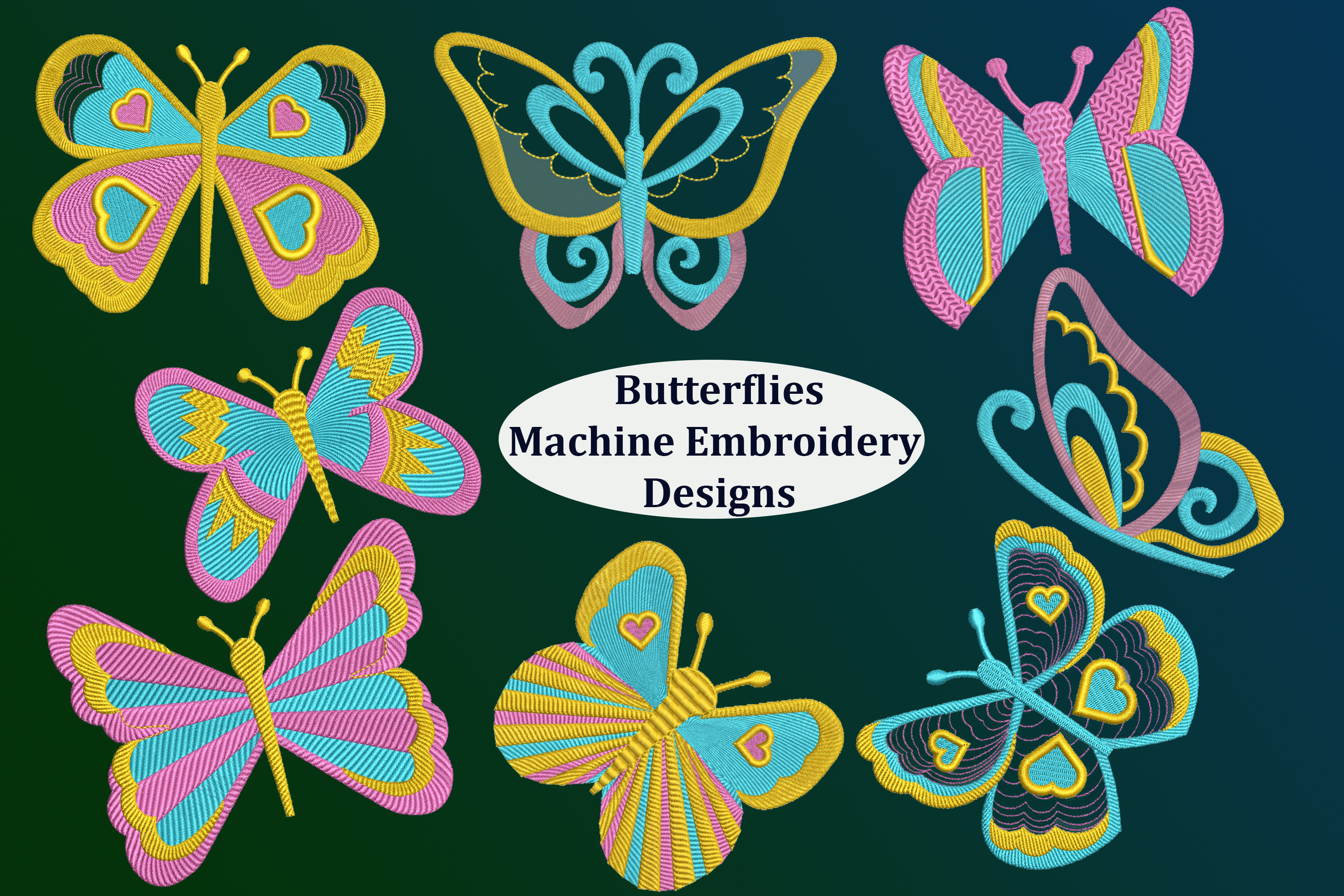 8 Butterflies Machine Embroidery designs example image 1