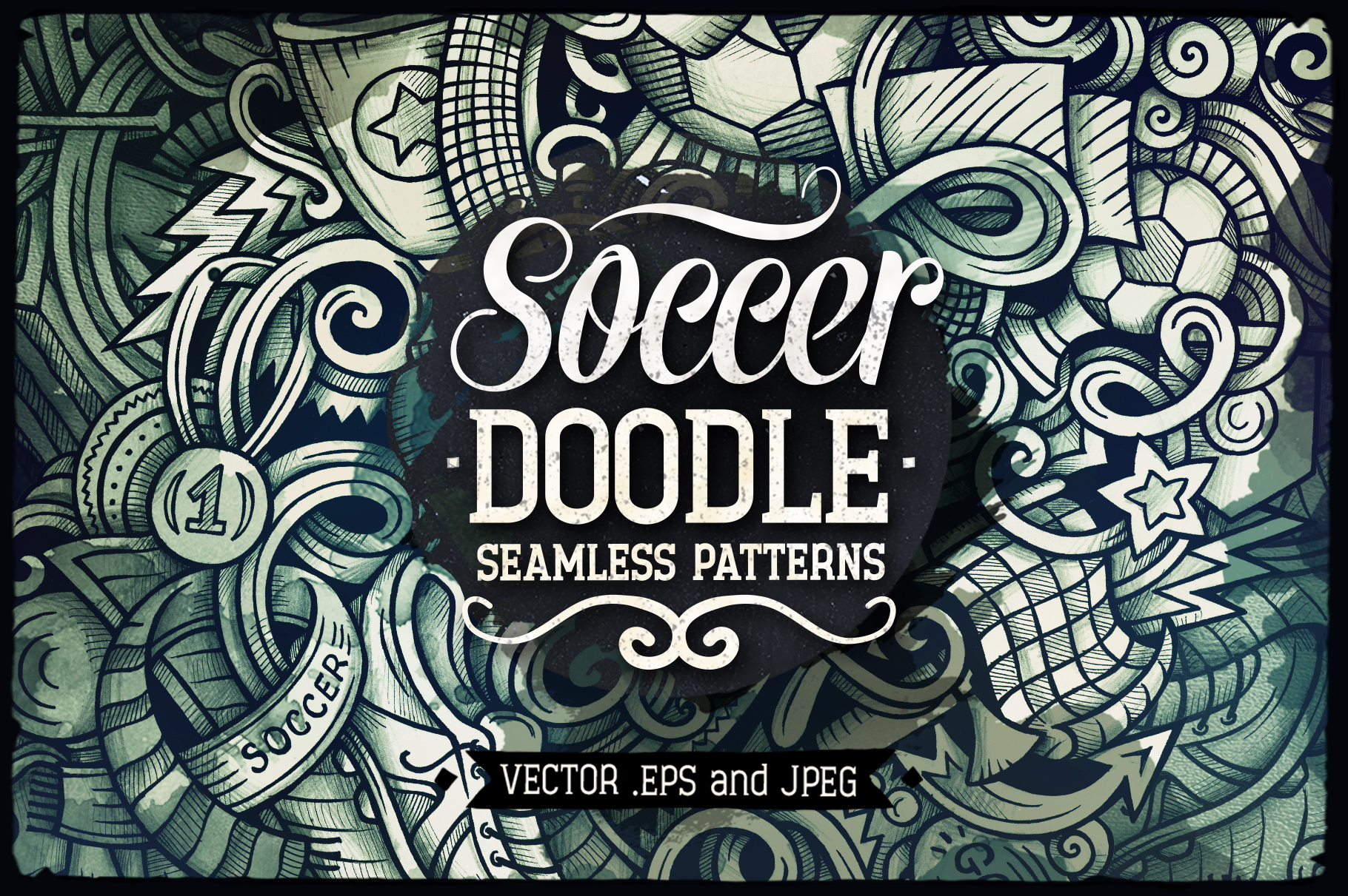 Soccer Graphic Doodle Patterns example image 1