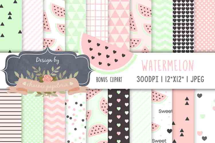 Watermelon Pastel digital papers, fruits paper, aqua pink example image 1