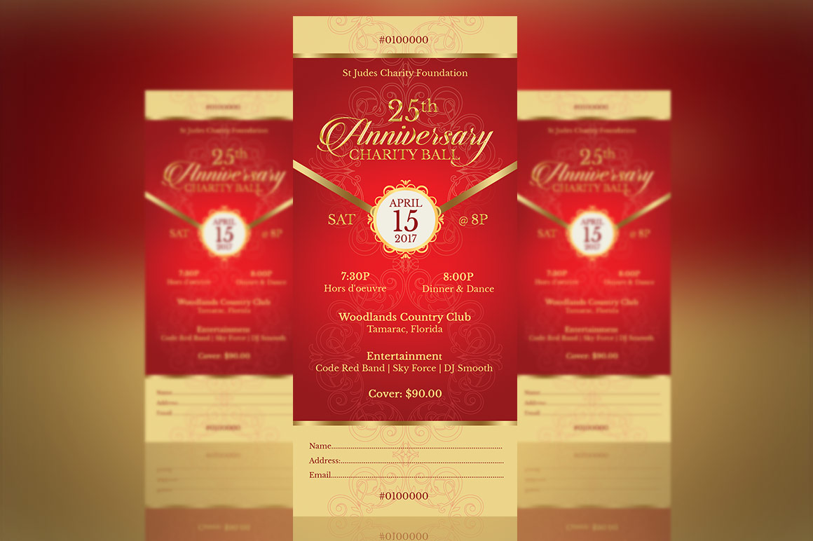 Red Gold Anniversary Gala Ticket Template example image 3