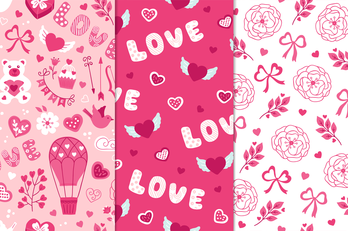 12 Valentine Seamless Patterns example image 2