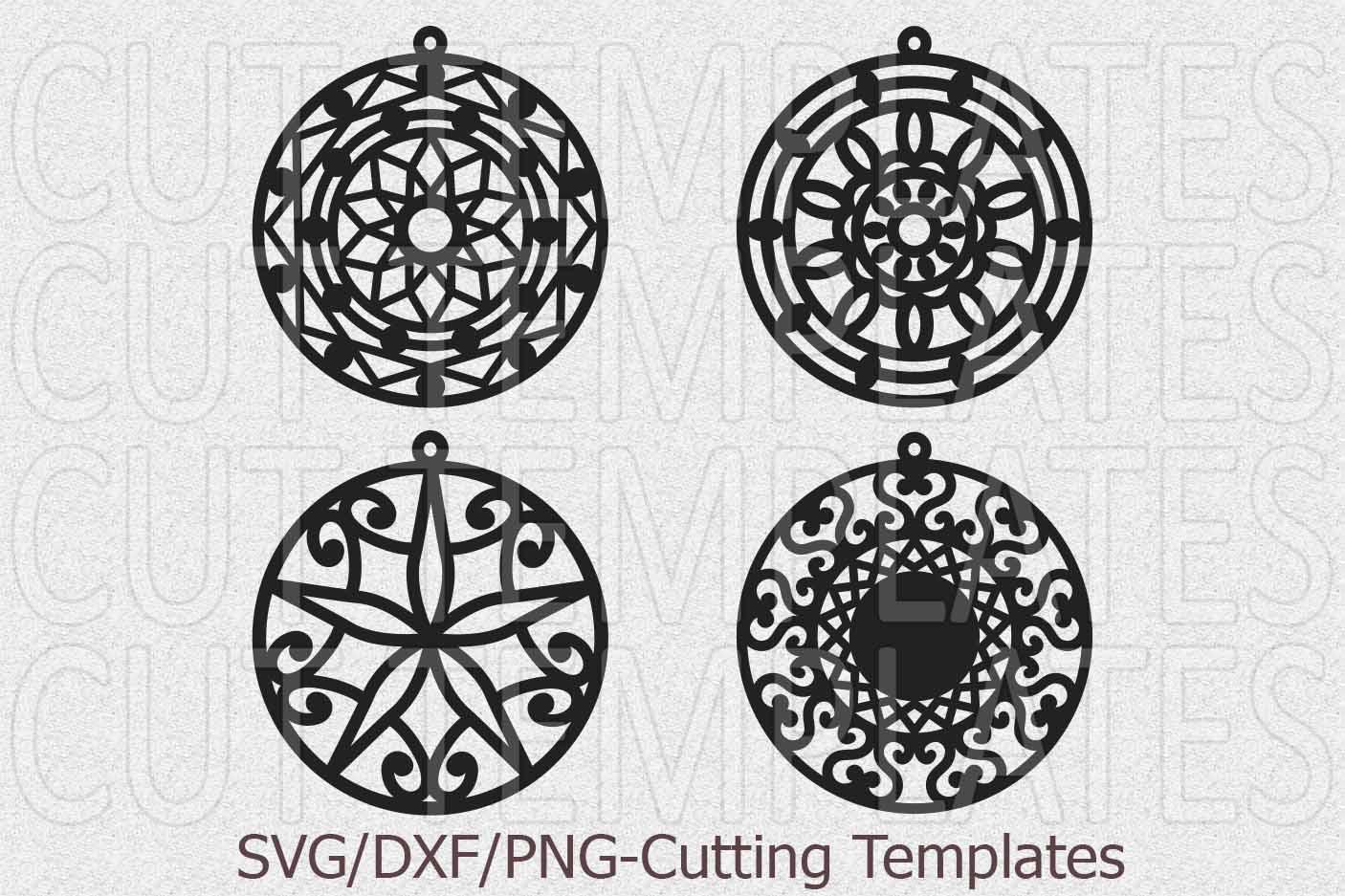 Laser cut wood leather earrings mandala earrings templates