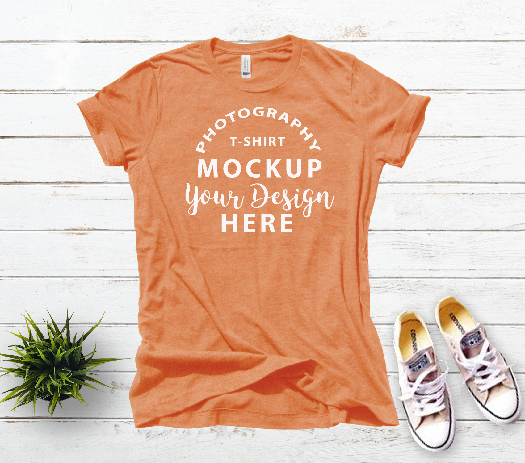 Bella Canvas 3001 T-shirt mock-up, color Heather Orange example image 2