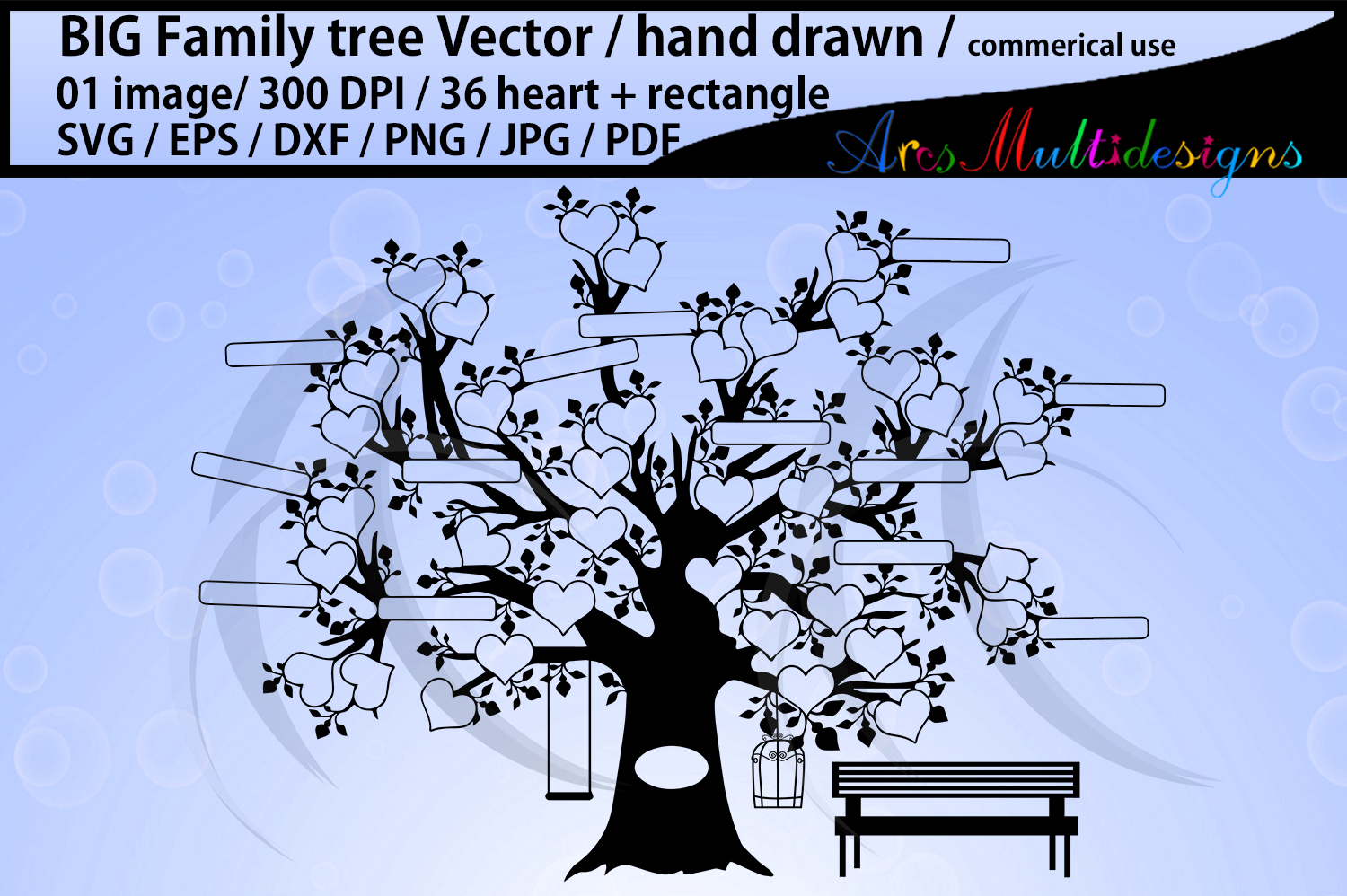 36 hearts Big family tree clipart with added rectangle example image 1
