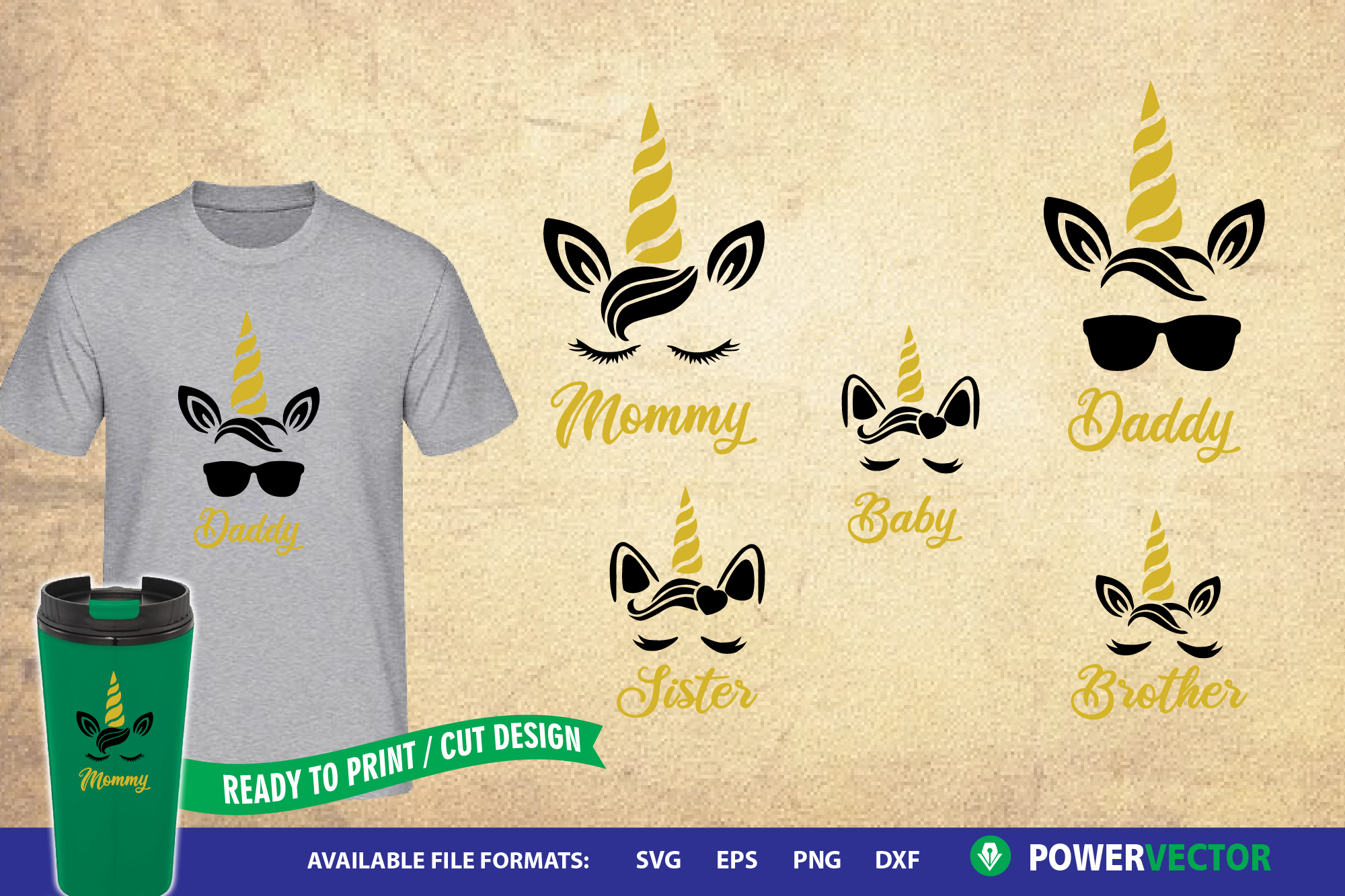 Unicorn Family Daddy, Mommy, Sister, Brother SVG Cut Files example image 1