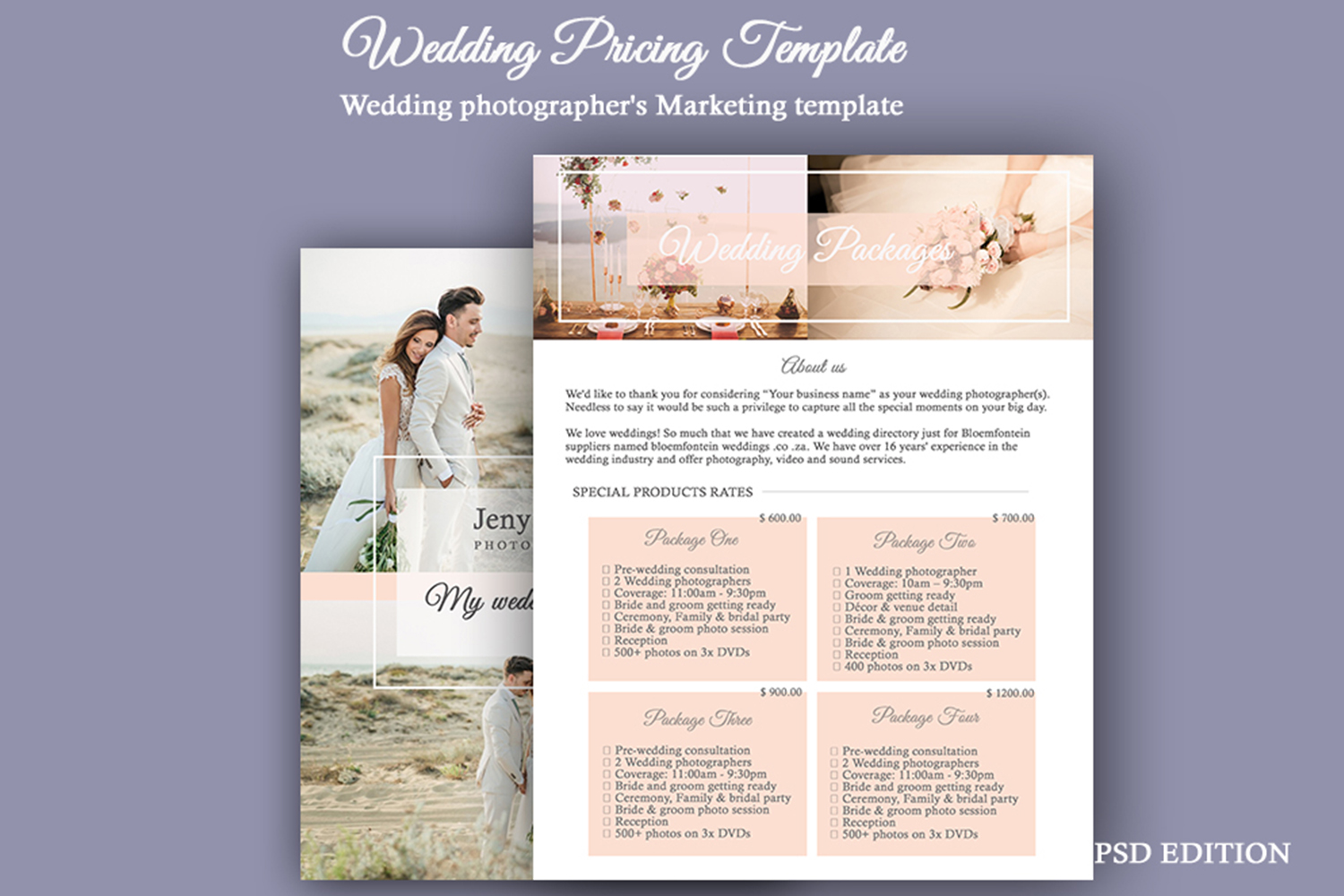 Wedding Pricing Template | Wedding PSD Photography Template example image 2