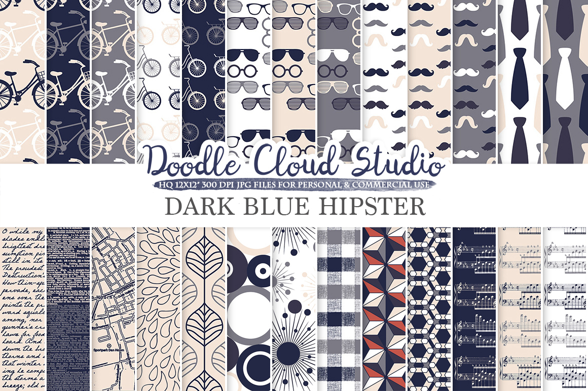 Navy Blue Cream Gray Hipster digital paper, Vintage Father's day tie mustaches bikes music glasses plaid patterns, Personal & Commercial Use example image 1
