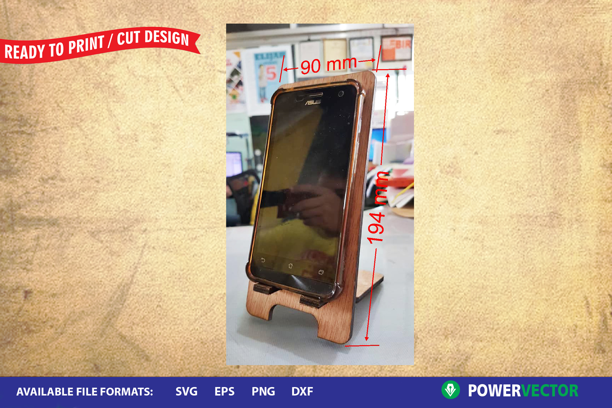 Cellphone Stand template for Laser, CNC Cutting Engraving example image 2