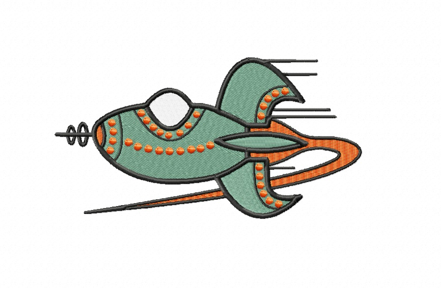 RETRO Rocket ~ Machine Embroidery Design in 2 sizes - Instant Download ~ Futuristic Jestons' Style Rocket example image 1