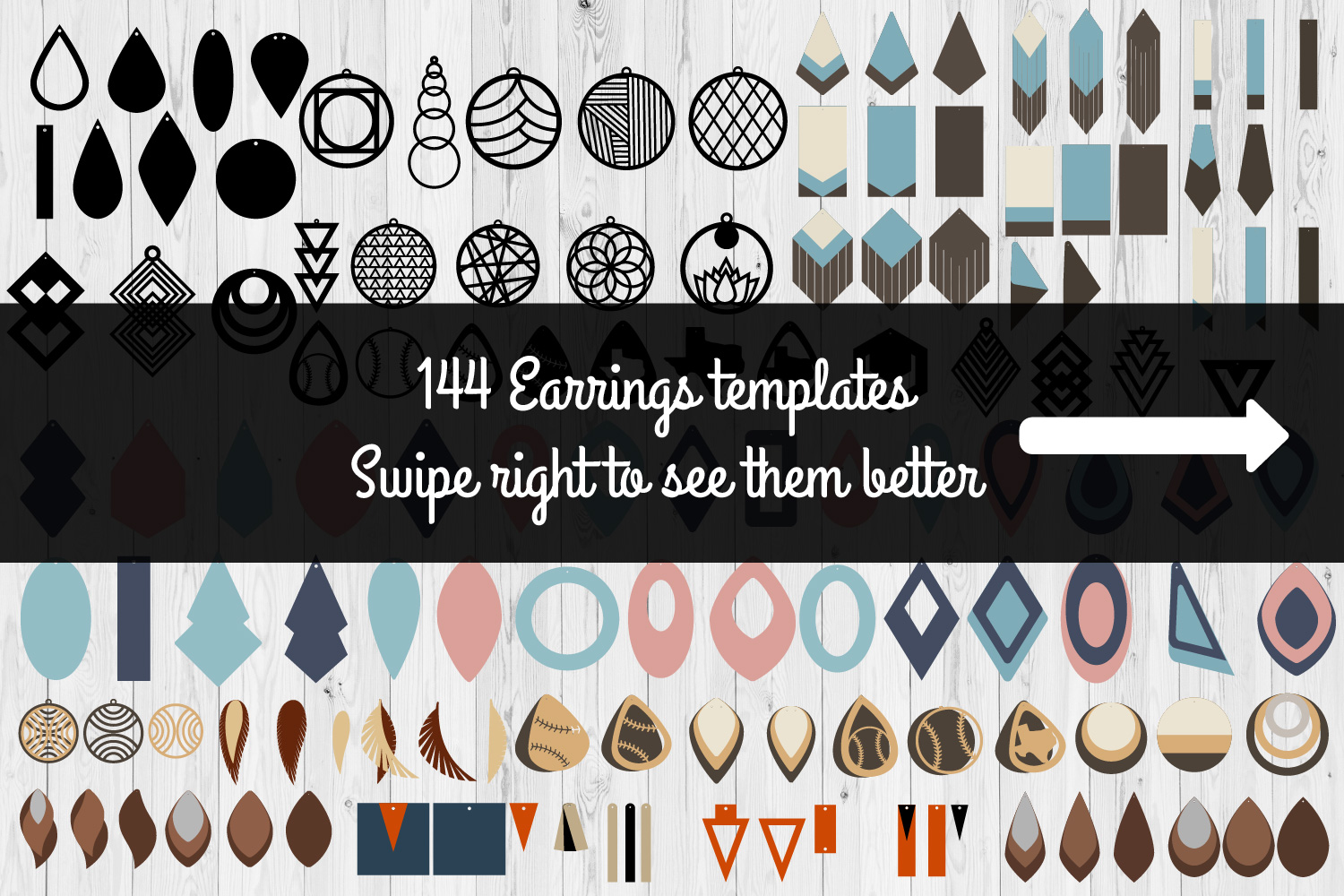 Earrings Templates Humble Bundle | SVG Cut Files | example image 1
