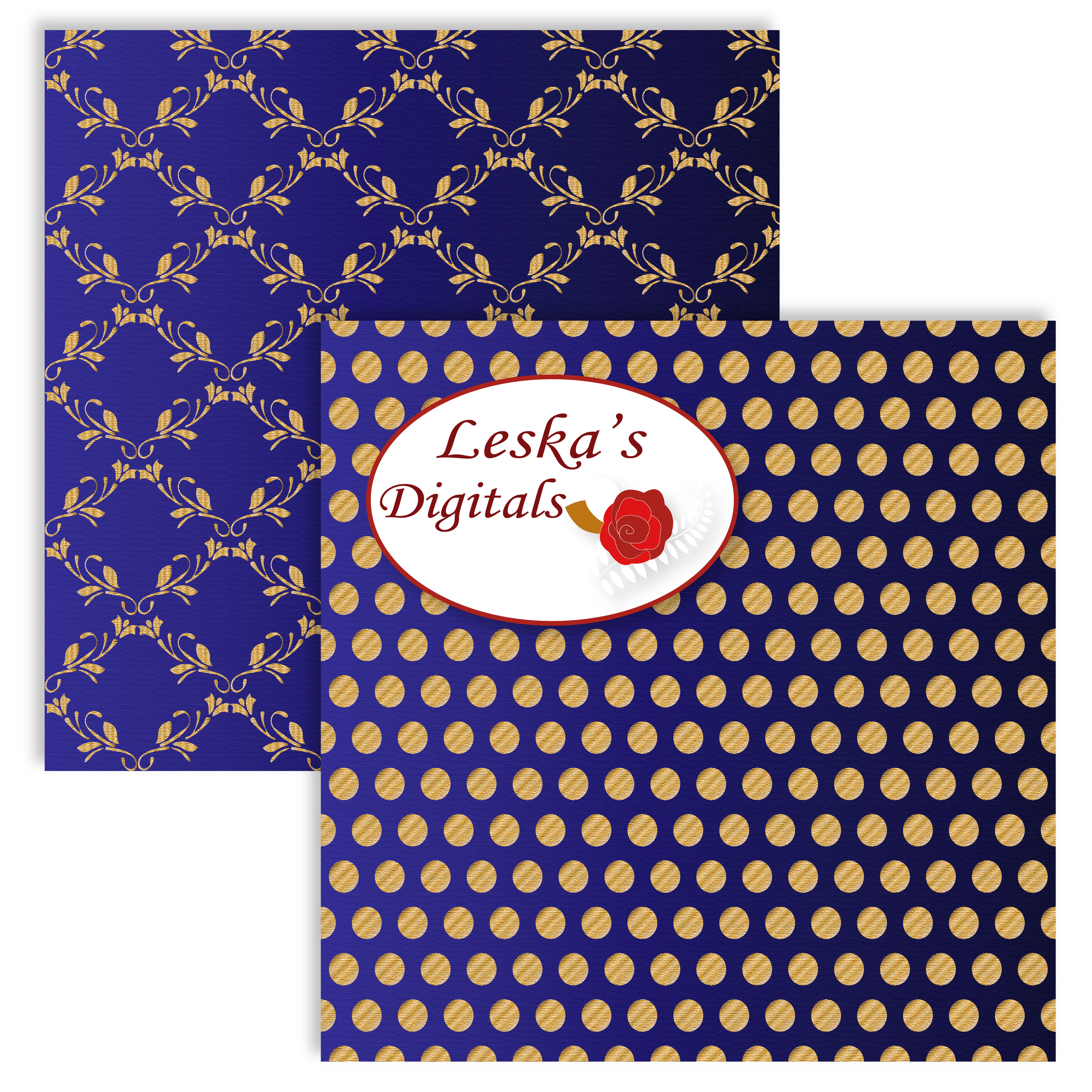 Royal Blue and Gold Digital Backgrounds example image 4