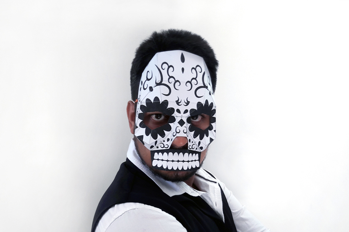 DIY Sugar Skull - 3d papercraft example image 1