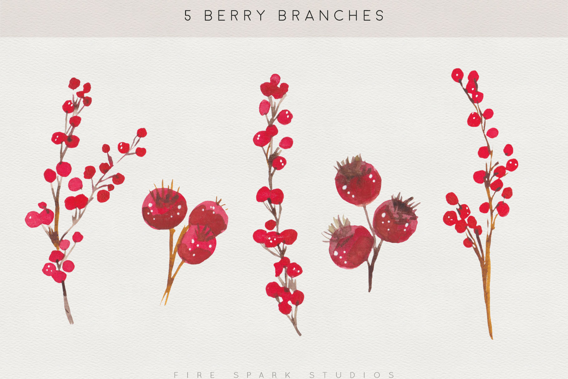 Winter Berry Watercolor Illustrations example image 3