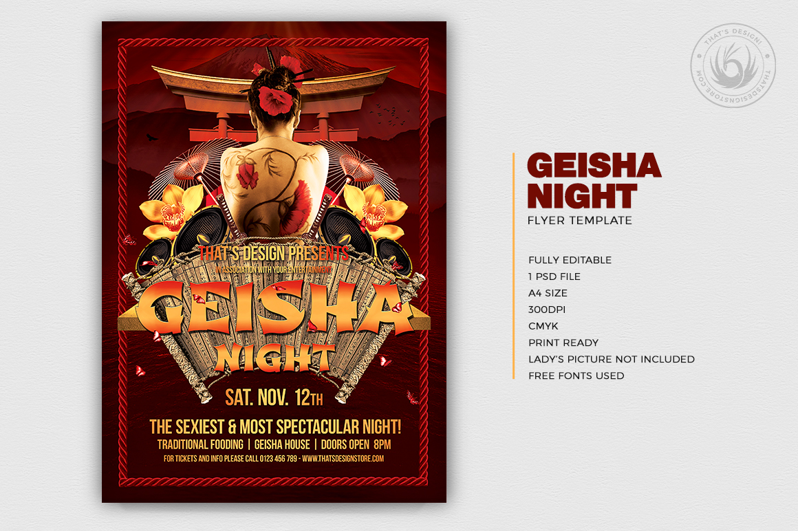 Geisha Night Flyer Template V1 example image 2