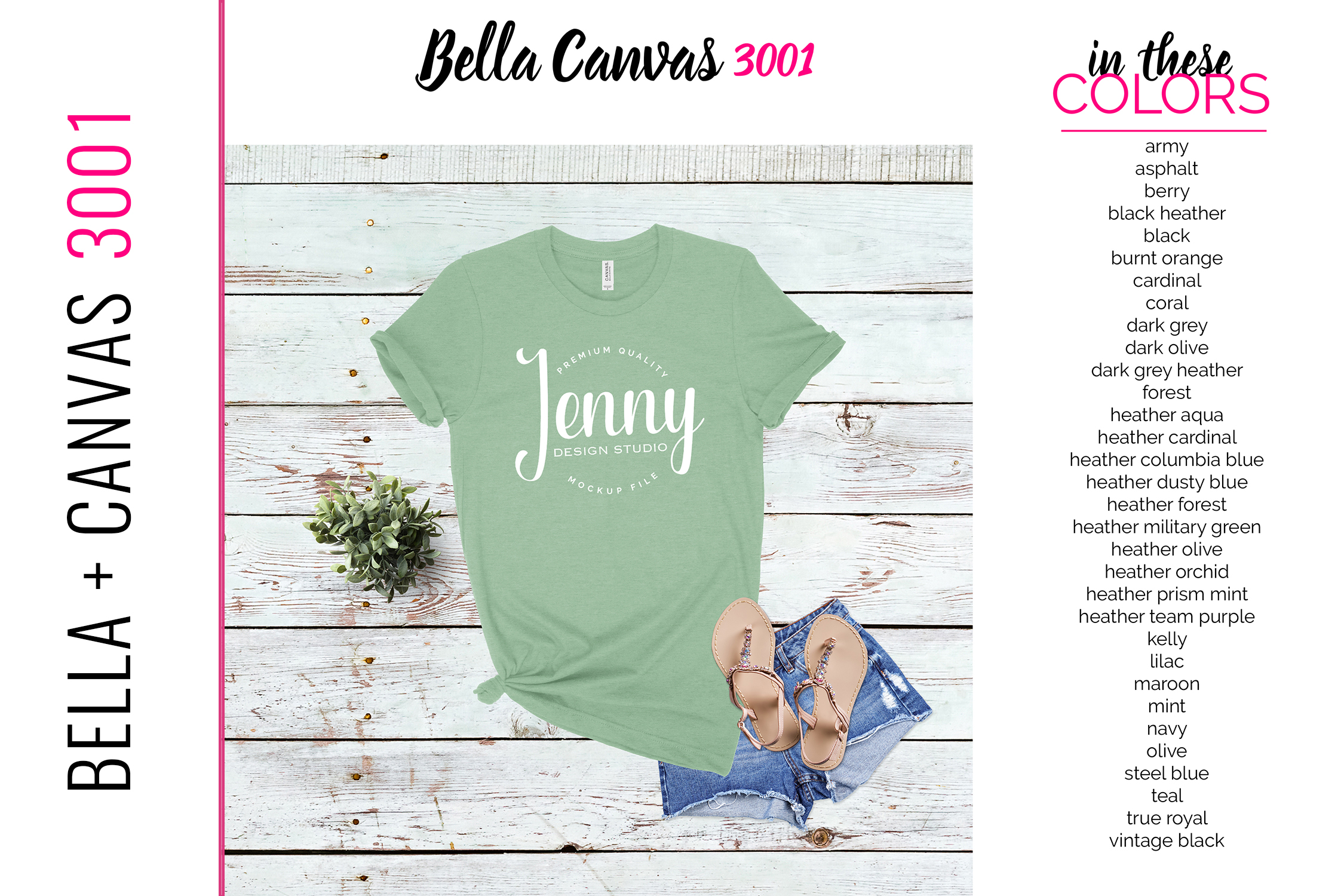 Bella Canvas 3001 Mockup Bundle, Knotted Tshirt Mockup example image 4