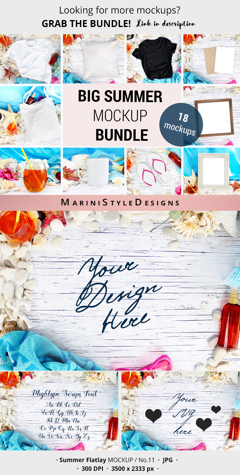 Summer Flatlay Mockup for SVG, beach background mockup, 959 example image 3