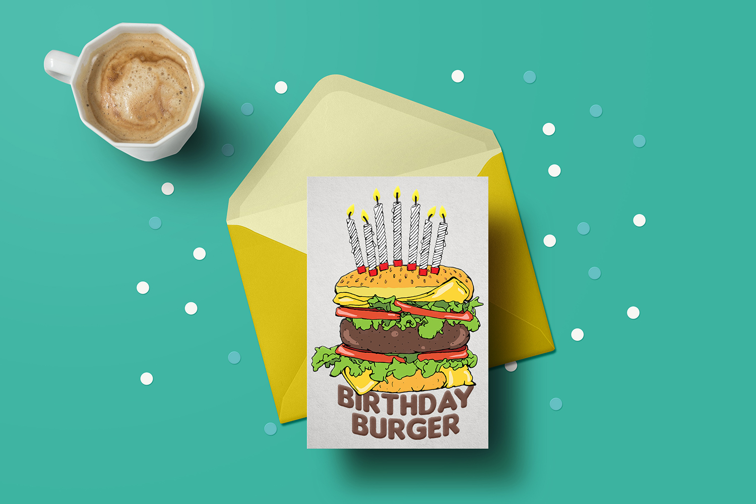 Cheeseburger Birthday Cake with Candles Hand Drawn Clipart example image 3
