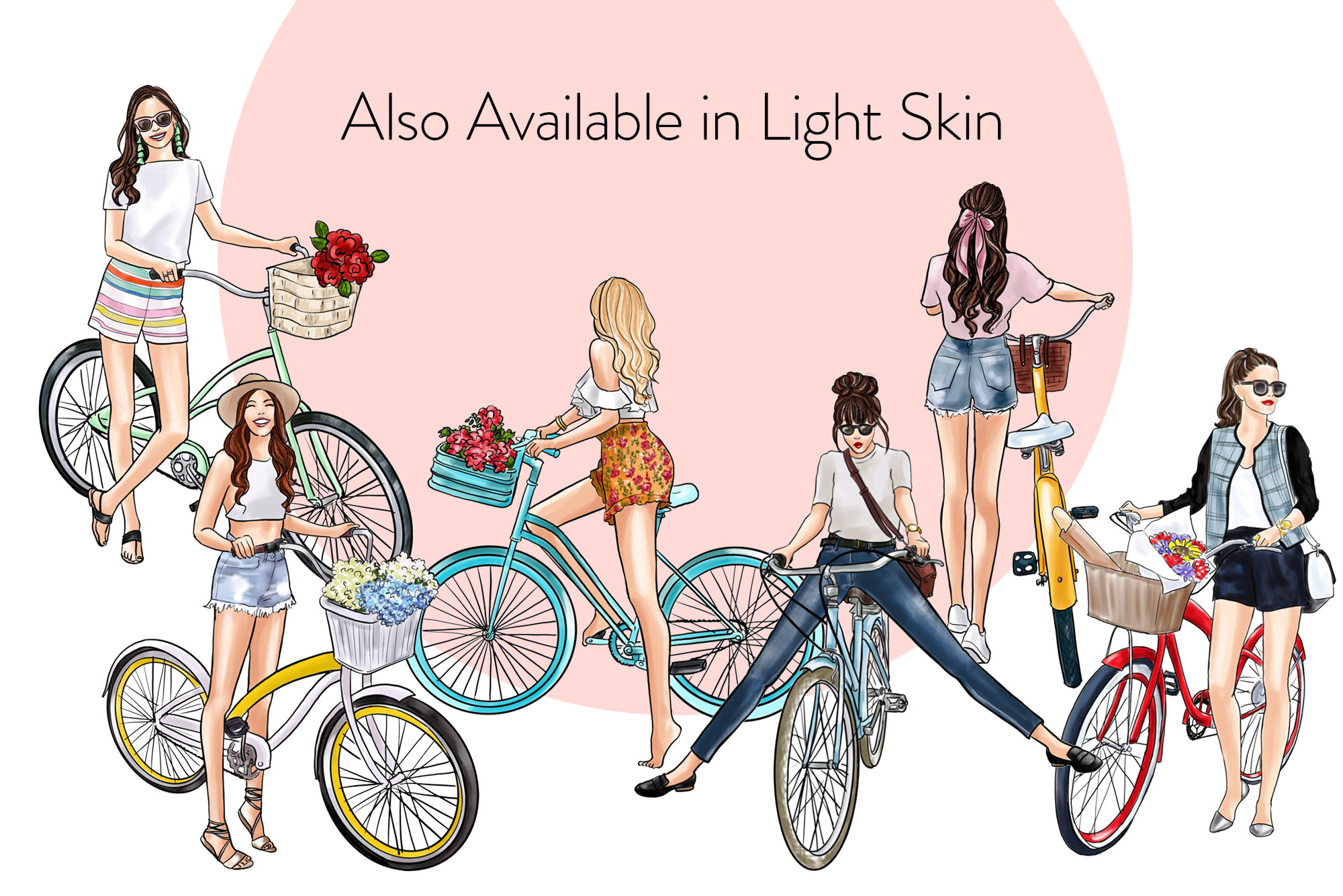 Fashion illustration clipart - Girls with Cycle - Dark Skin example image 4