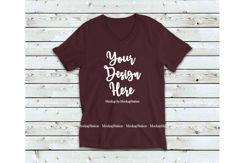 Maroon Shirt Mock Up, Bella Canvas 3005 V-Neck Tshirt Mockup example image 1
