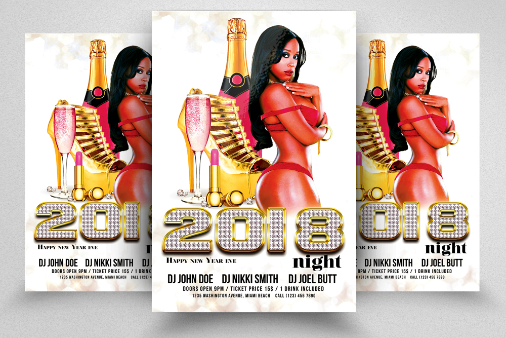 Happy New Year Ladies Party Flyer example image 1