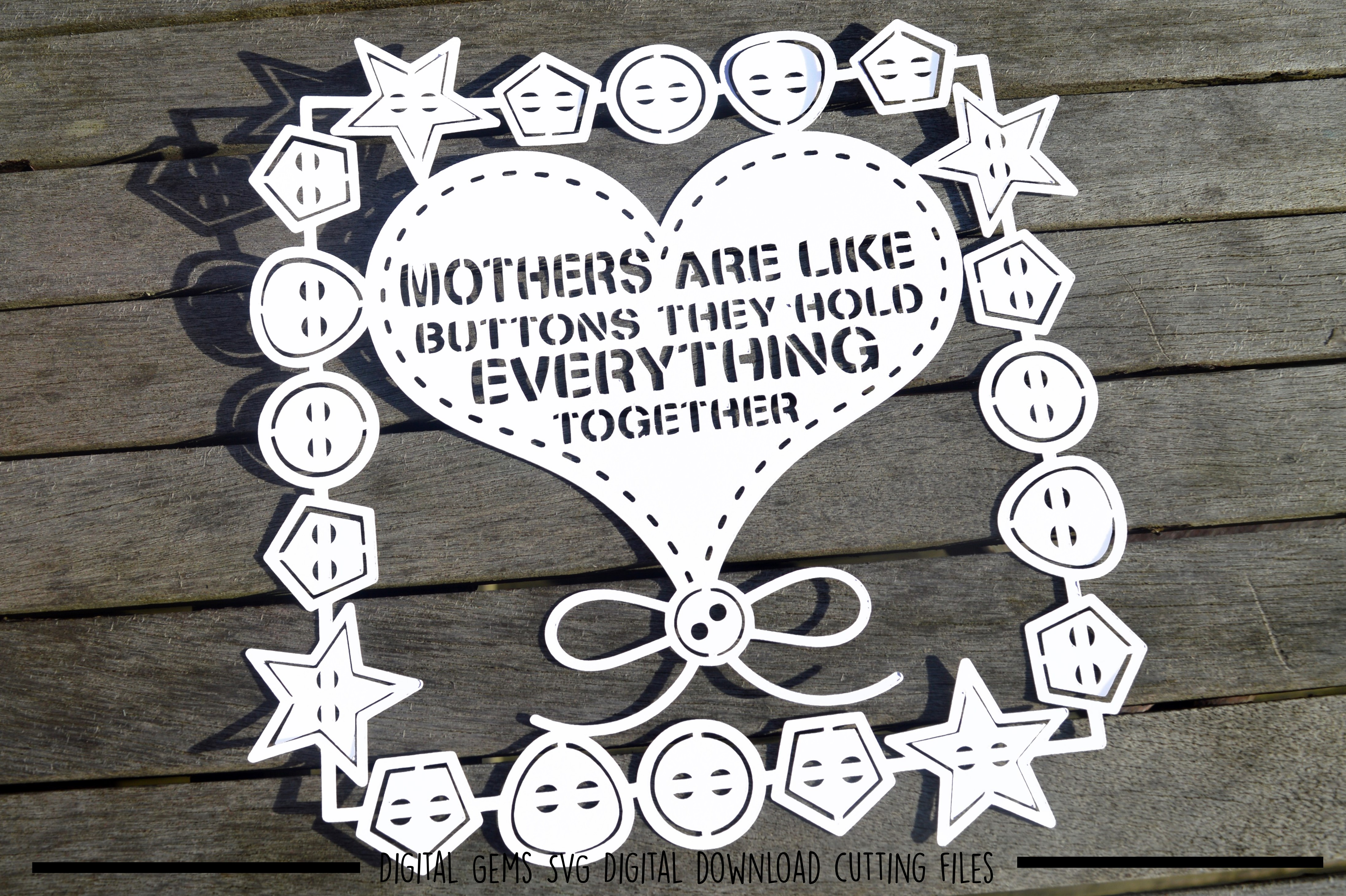 Mothers are like buttons paper cut SVG / DXF / EPS files example image 2