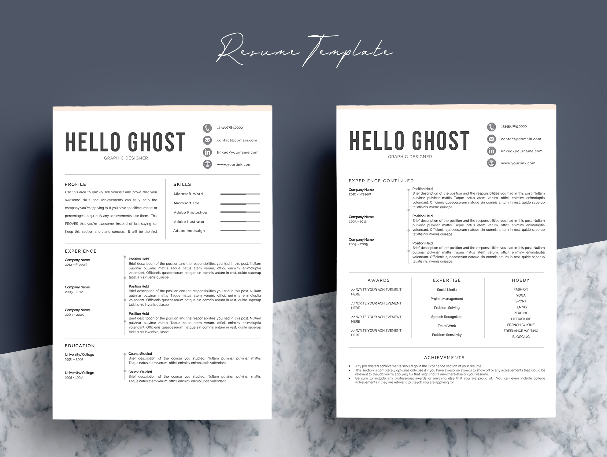 Modern Resume Template 4 Pages Design example image 4