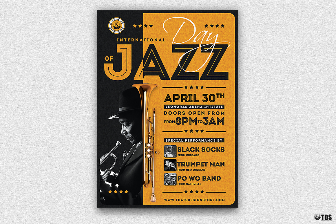 Jazz Day Flyer Template V1 example image 2