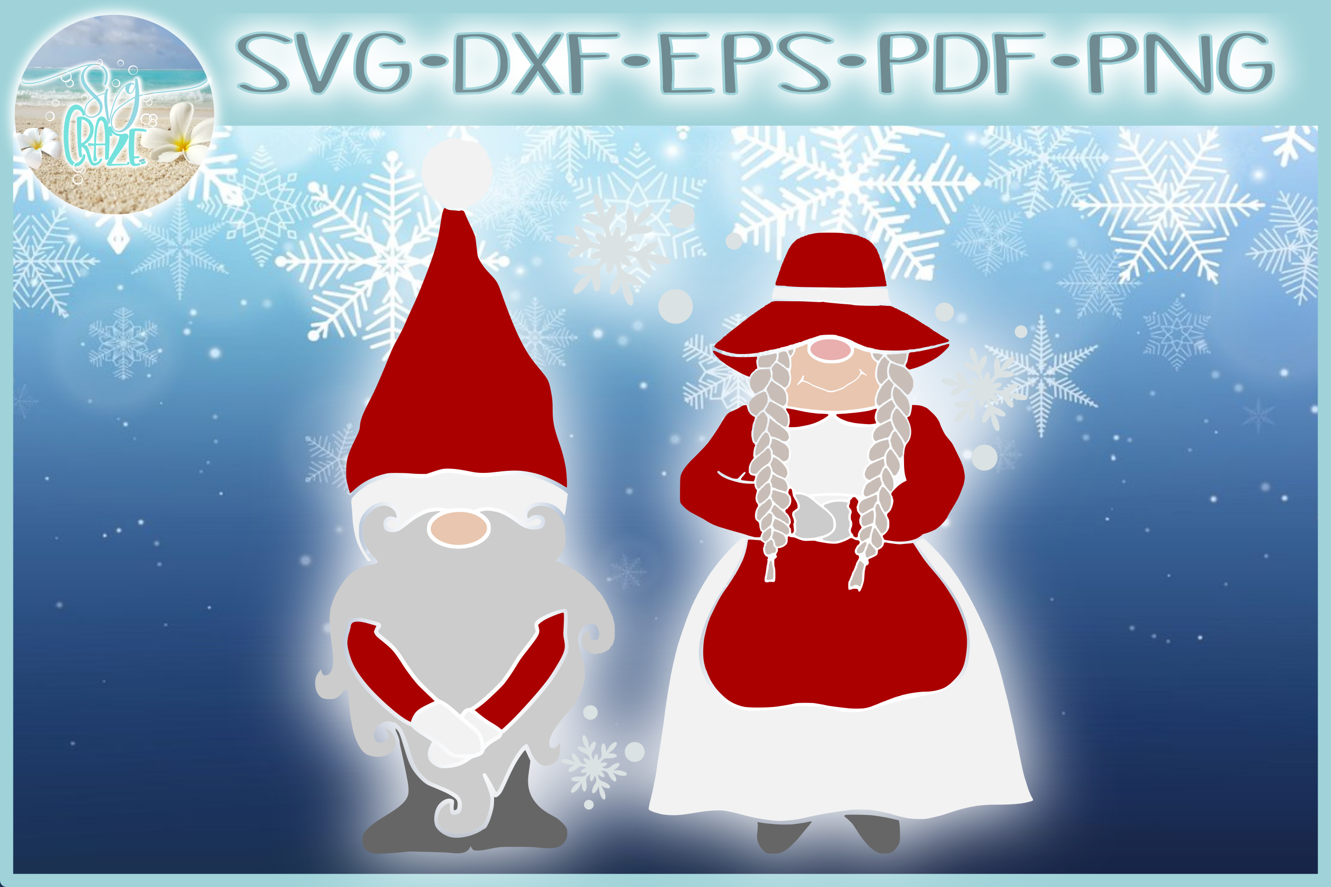 Mr and Mrs Gnome SVG Dxf Eps Png PDF Files for Cricut example image 1