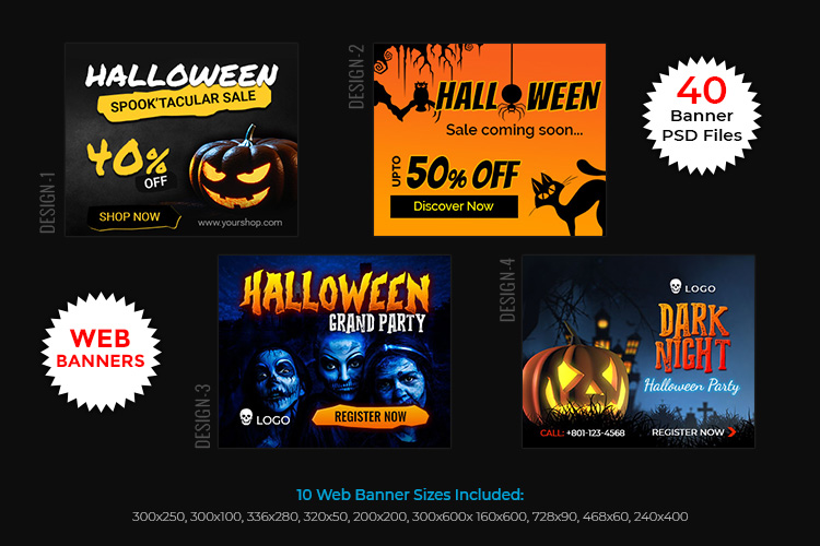Halloween Big Bundle - flyers, banners, social media etc. example image 7