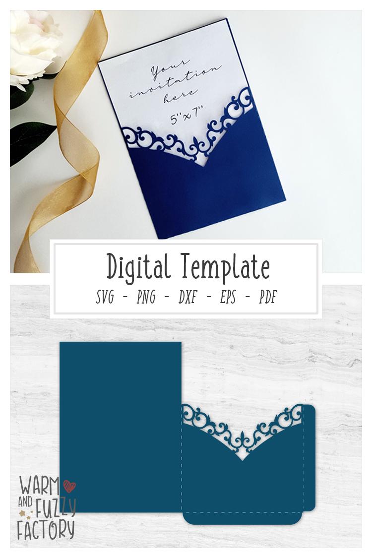 Wedding Invitation Pocket Envelope Template 5x7 cut file example image 3