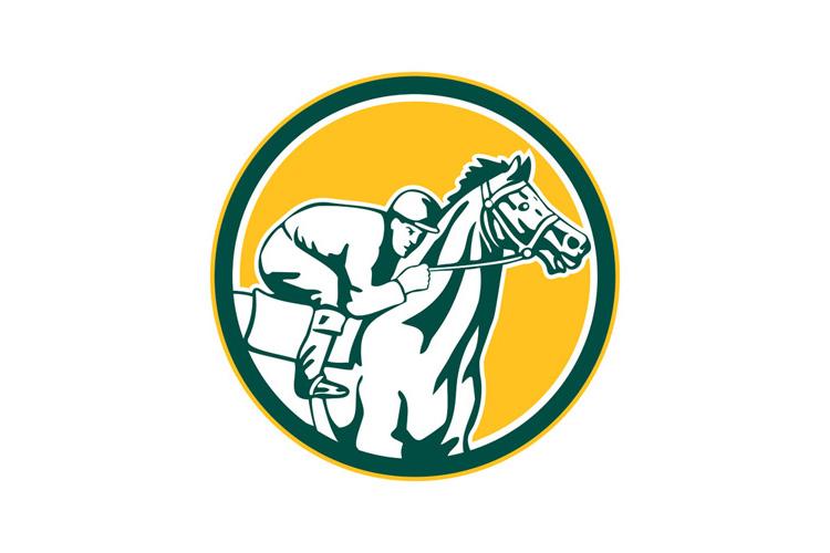 Jockey Horse Racing Circle Retro example image 1