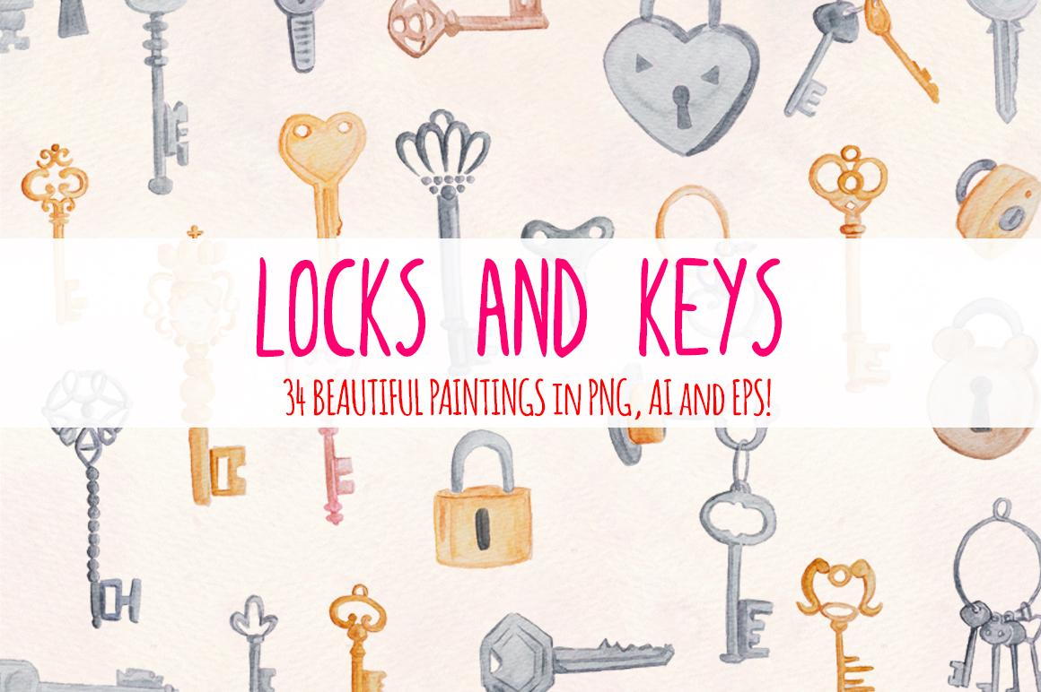 Locks and Keys 34 Watercolor Graphics Kit example image 1