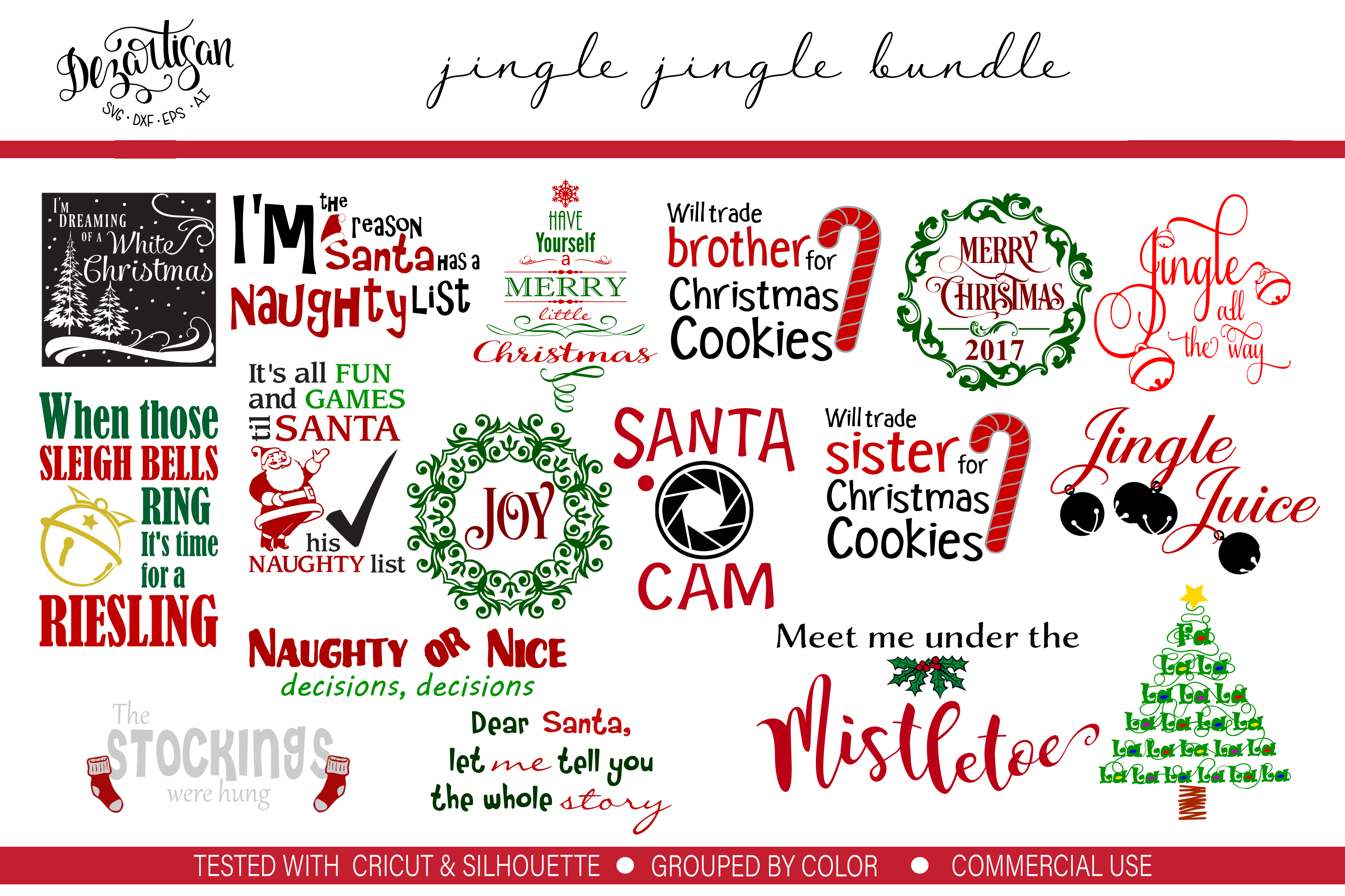 Jingle Jingle Bundle of 30 SVG DXF Cut Files example image 2