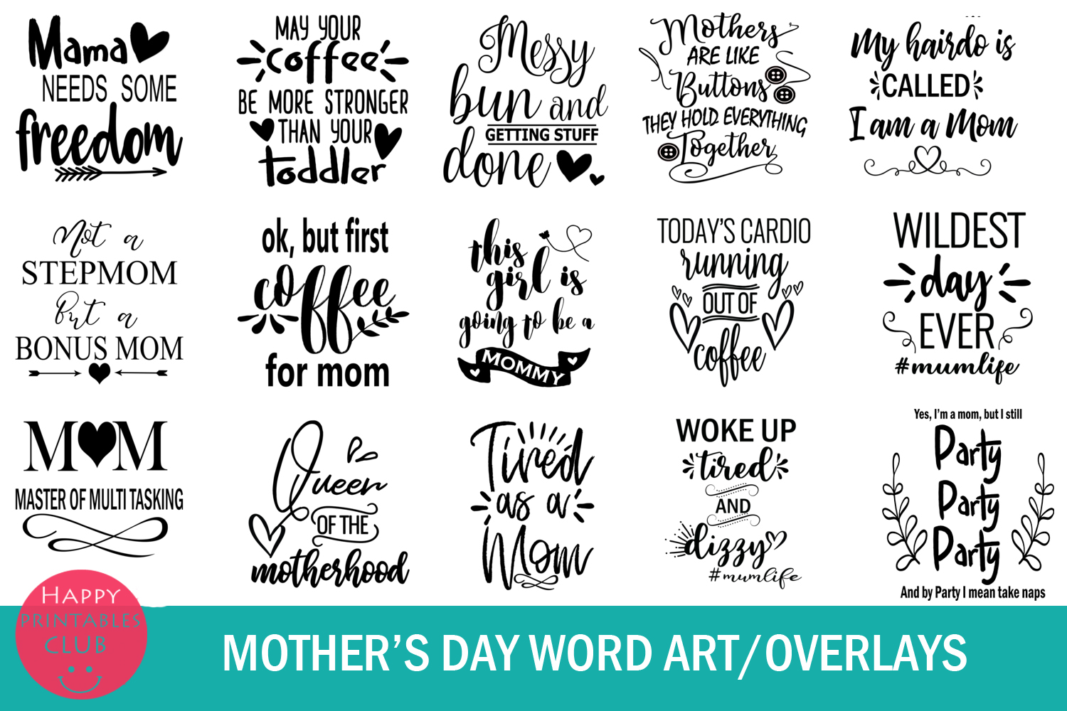 Mother's Day Text Clipart-Photo Overlays-Word Art Graphics example image 2