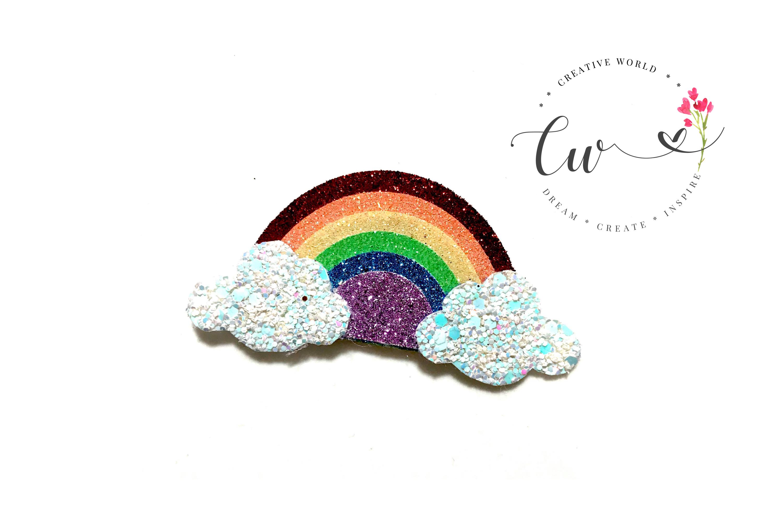 Rainbow Hair Clip Digital Template | Rainbow Clip Template example image 3