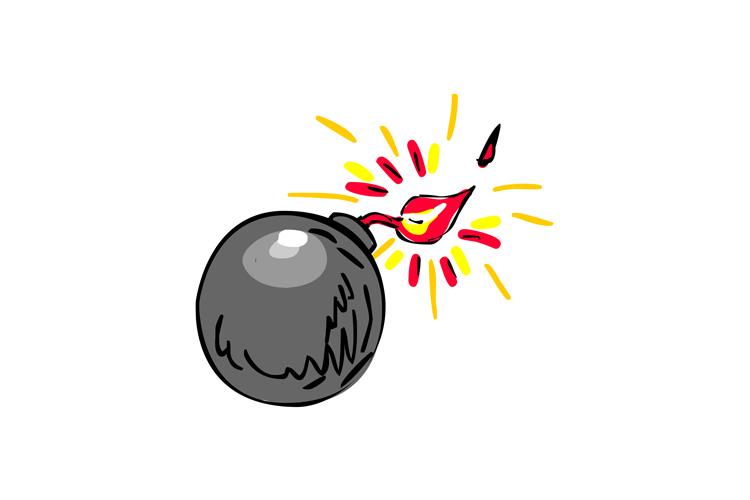 Black Ball Bomb Burning Fuse Drawing example image 1