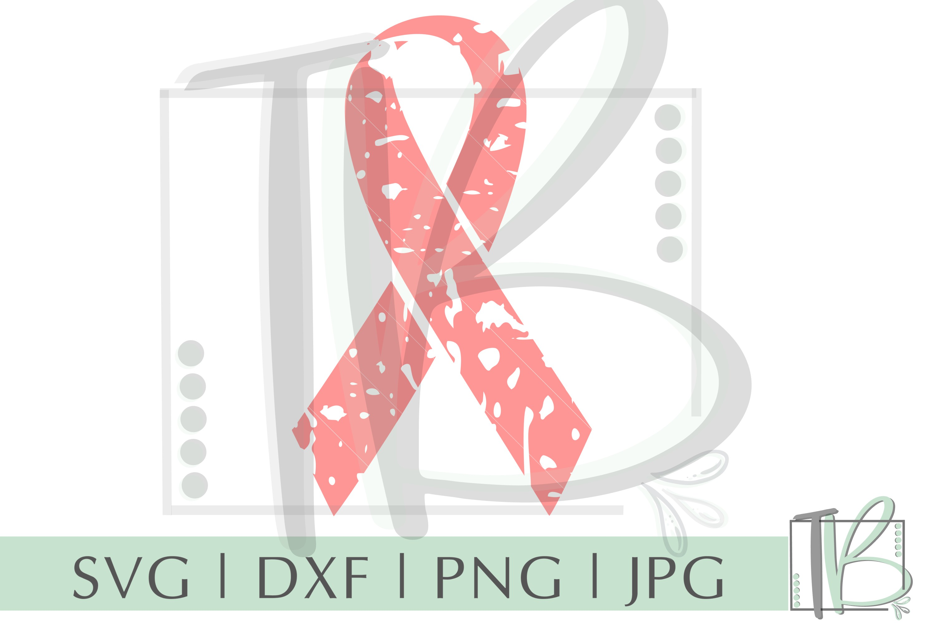 Grunge SVG, Breast Cancer SVG, Pink Ribbon SVG example image 2