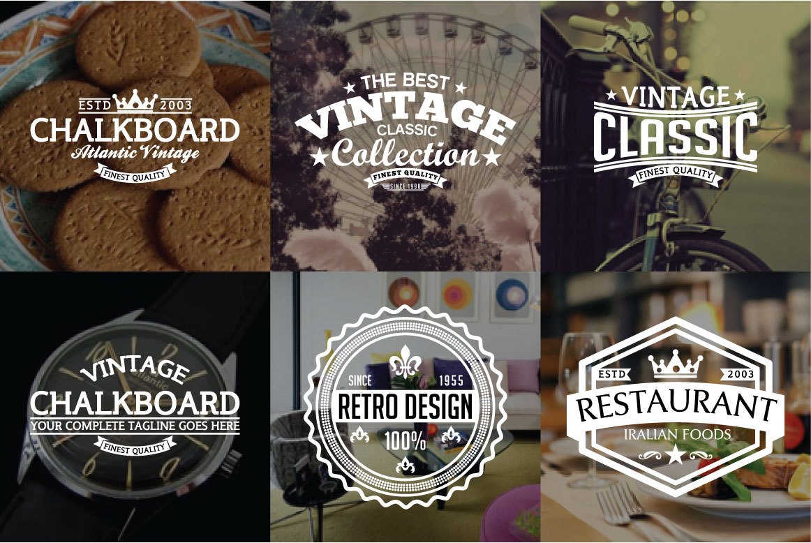 60 Vintage Bundle Logos Labels & Badges example image 8