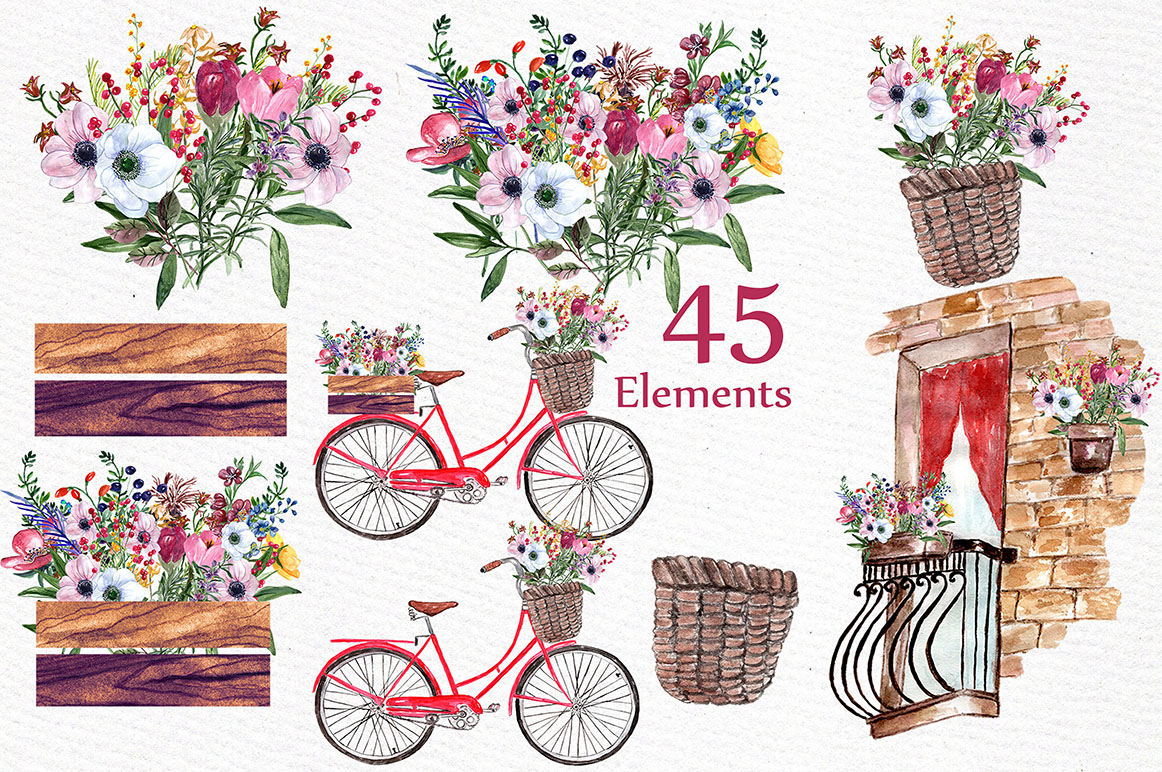 Watercolor flowers clipart example image 2