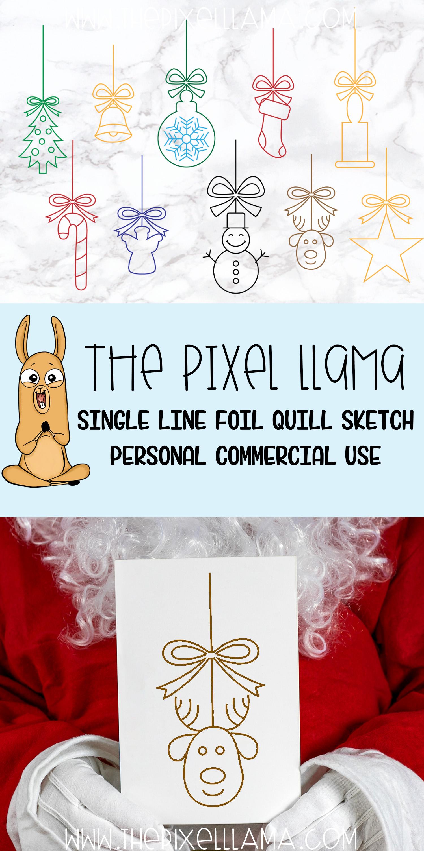 Christmas Ornaments Elements Bundle of 10 Single Line Sketch example image 4